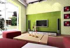 绿色清新背景墙效果图 田园生活轻松拥有
