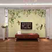 手绘客厅电视背景墙装修效果图推荐欣赏2014最新