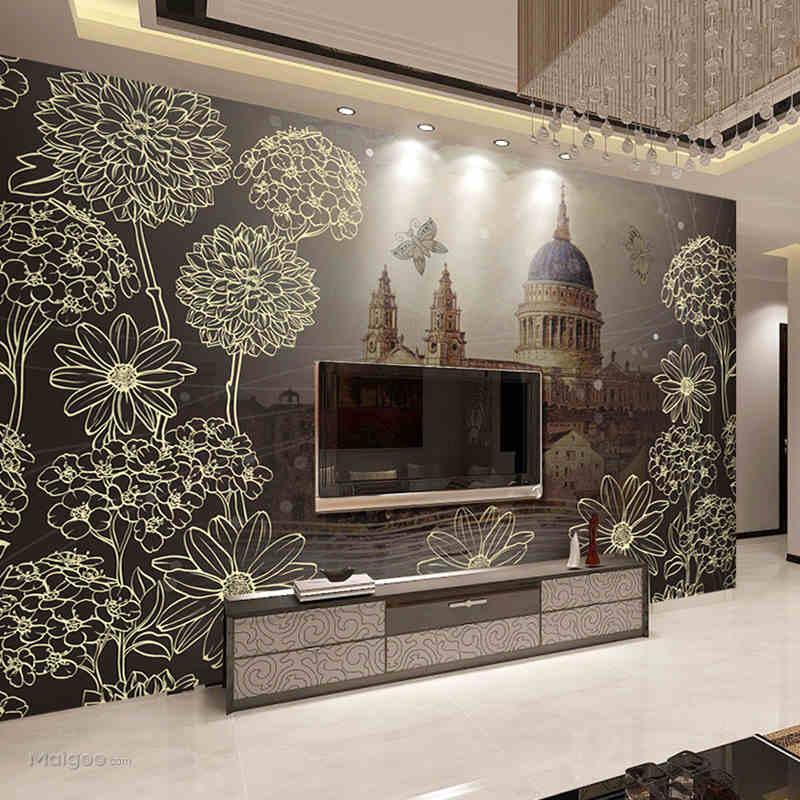 手绘客厅电视背景墙装修效果图推荐欣赏2014最新(13)